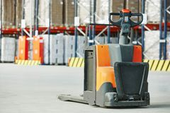 Pallet stacker truck at warehouse Royalty Free Stock Photography
