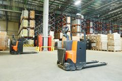 Pallet stacker truck at warehouse Stock Photo