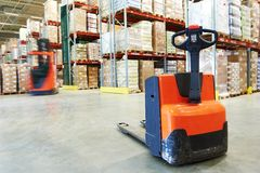 Pallet stacker truck at warehouse Stock Photography