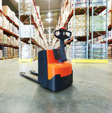 Pallet stacker truck at warehouse Stock Image