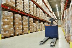 Pallet stacker truck at warehouse Stock Photos