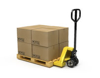 Pallet truck. Stacked with pallet and boxes Royalty Free Stock Photography