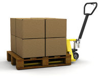 Pallet truck with boxes Stock Image