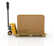 Pallet truck and carton Royalty Free Stock Photography