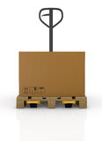 Pallet truck and carton Stock Images