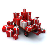 Pallet truck loaded with gifts. Heap of gift boxes on pallet truck Stock Photography