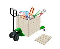 Pallet Truck Loading Craft Tools in Shipping Box Royalty Free Stock Photos