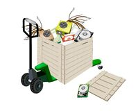 Pallet Truck Loading Hardware Computer in Shipping. Fork Pallet Truck Loading A Wooden Crate or Cargo Box full with CD-ROM Disk Drive, Power Supply Box, Computer stock illustration