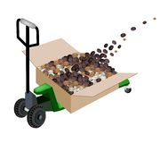 A Pallet Truck Loading Shipping Box with Coffee Be Royalty Free Stock Photo