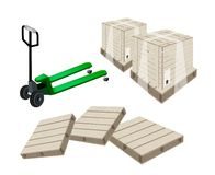 A Pallet Truck Loading A Shipping Box Royalty Free Stock Photography