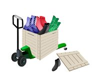 Pallet Truck Loading Women Shoes in Shipping Box Royalty Free Stock Photo