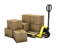Pallet truck with pallet and boxes. On white background Royalty Free Stock Photos