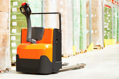 Pallet truck at warehouse Royalty Free Stock Photography