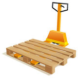 Pallet truck. With wooden pallet Stock Photography