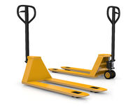 Pallet trucks. Two pallet trucks or forklift (3d render Stock Images