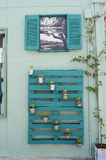 Pallet on wall. Green decorated pallet on wall, Argostoli,Greece Royalty Free Stock Photo