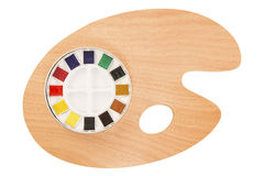 Pallet and water colors Stock Photo
