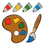 Pallete with brush and paint. Vector illustration of a painting tools Stock Image