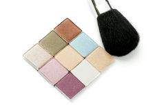 Pallete for Make up and Brush Royalty Free Stock Photo