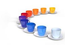 Pallete van kleur en koffiekoppen Stock Afbeeldingen