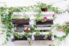 Palletideeën voor het tuinieren Stock Afbeelding
