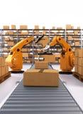 Palletising robótico e empacotar Fotografia de Stock