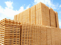 Pallets. New wooden pallets in a factory, Italy Royalty Free Stock Photo