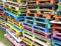 Pallets. Piles of colourful wooden pallets Royalty Free Stock Photo