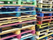 Pallets. Colorful industrial wooden pallets at a stack Royalty Free Stock Photos