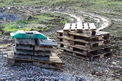 Pallets. Stored on construction site Royalty Free Stock Image