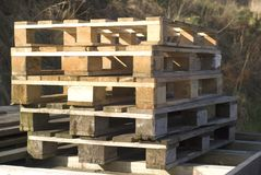 Pallets. Stack of used shipping pallets Stock Photo