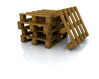 Pallets. 3D render of a stack of pallets Royalty Free Stock Photos
