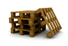 Pallets. 3D render of a stack of pallets Stock Photos