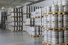 Pallets of beer kegs in stock brewery Ochakovo Stock Image