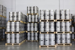 Pallets of beer kegs in stock brewery Ochakovo Royalty Free Stock Photo