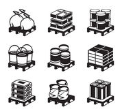 Pallets with building materials Stock Image