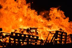 Close up of wood bonfire buring stock photo