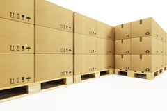 Pallets with cardboard boxes Stock Image
