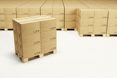 Pallets with cardboard boxes Stock Photo