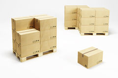 Pallets with cardboard boxes Royalty Free Stock Photo