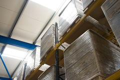 Pallets with cartons in warehouse. Pallets with carbord brown cartons on the shelves in warehouse Stock Images