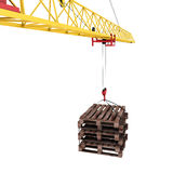 Pallets close-up on the hook of the crane. Cargo delivery. Pallets close-up on the hook of the crane. 3d render image Stock Photos