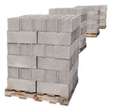 Pallets of concrete blocks Royalty Free Stock Photo