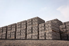 Pallets of concrete blocks Stock Image