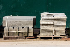 Pallets of concrete blocks for the pavement on construction site Royalty Free Stock Photography