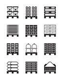Pallets with different building materials. Vector illustration Stock Photos