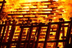 Pallets in fire Royalty Free Stock Photos