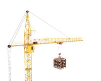 Pallets on the hook of the crane. Cargo delivery. 3d illustration Stock Photo