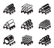 Pallets with metal, plastic and rubber pipes Stock Photo