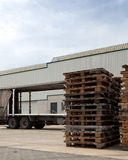 Pallets outside a logistics center Stock Photo